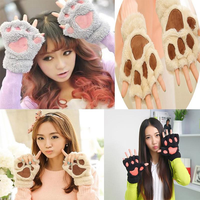 Low Price Winter Warm Women Fingerless Gloves Fluffy Bear Cat Plush Paw Fur Gloves Mittens Free