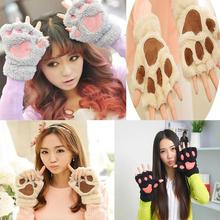 Low Price Winter Warm Women Fingerless Gloves Fluffy Bear/Cat Plush Paw Fur Gloves Mittens Free Shipping 5Colors