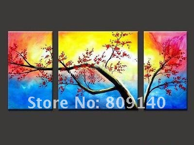 Free shipping beautiful oil painting canvas colorful plum for Colorful kitchen wall art