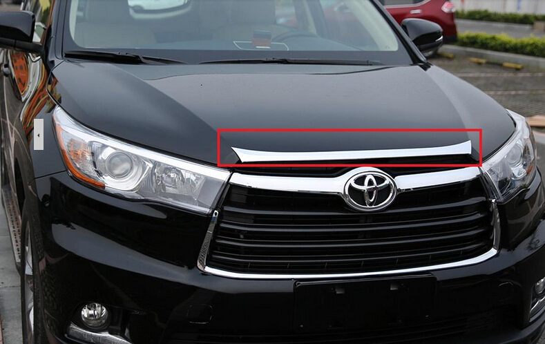 high quality abs chrome decoration front car hood cover trim 1pcs for 2015 toyota highlander. Black Bedroom Furniture Sets. Home Design Ideas