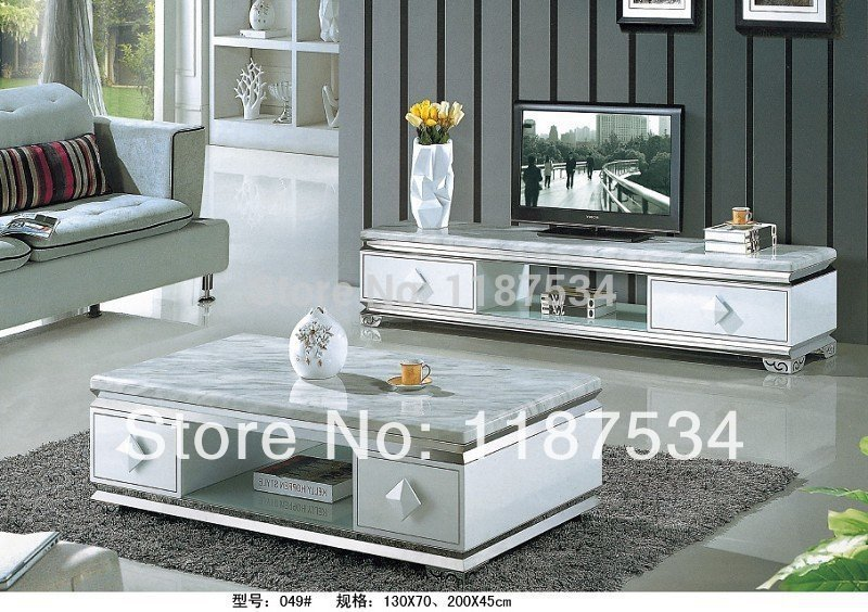 FD049 MDF TV stand living room furniture TV bench TV cabinet TV stand cabinet marble veneer surface coffee table(China (Mainland))