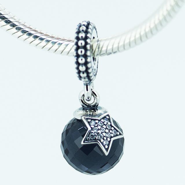 Новый 925 стерлингового серебра прелести темно-синий цирконий луна и звезды кулон бусины подходит пандора шарм браслет