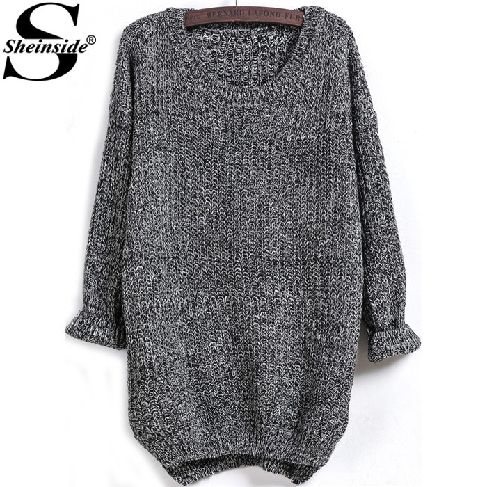 Sheinside Latest 2015 Women Round Neck Knitwear Autumn High Street Pullovers Dark Grey Long Sleeve Dipped Hem Loose Sweater(China (Mainland))