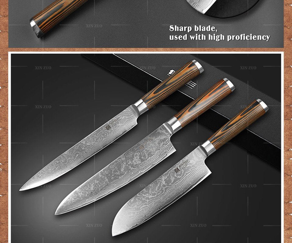 Buy XINZUO 3 pcs Kitchen knives set Damascus kitchen knife professional chef cleaver paring knife Color wood handle free shipping cheap