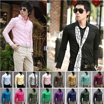 2014 New Men dress Shirts Man Casual Slim Long Sleeve shirt Male Spring Autumn Cotton Tops Male Classic Mandarin Collar Clothing