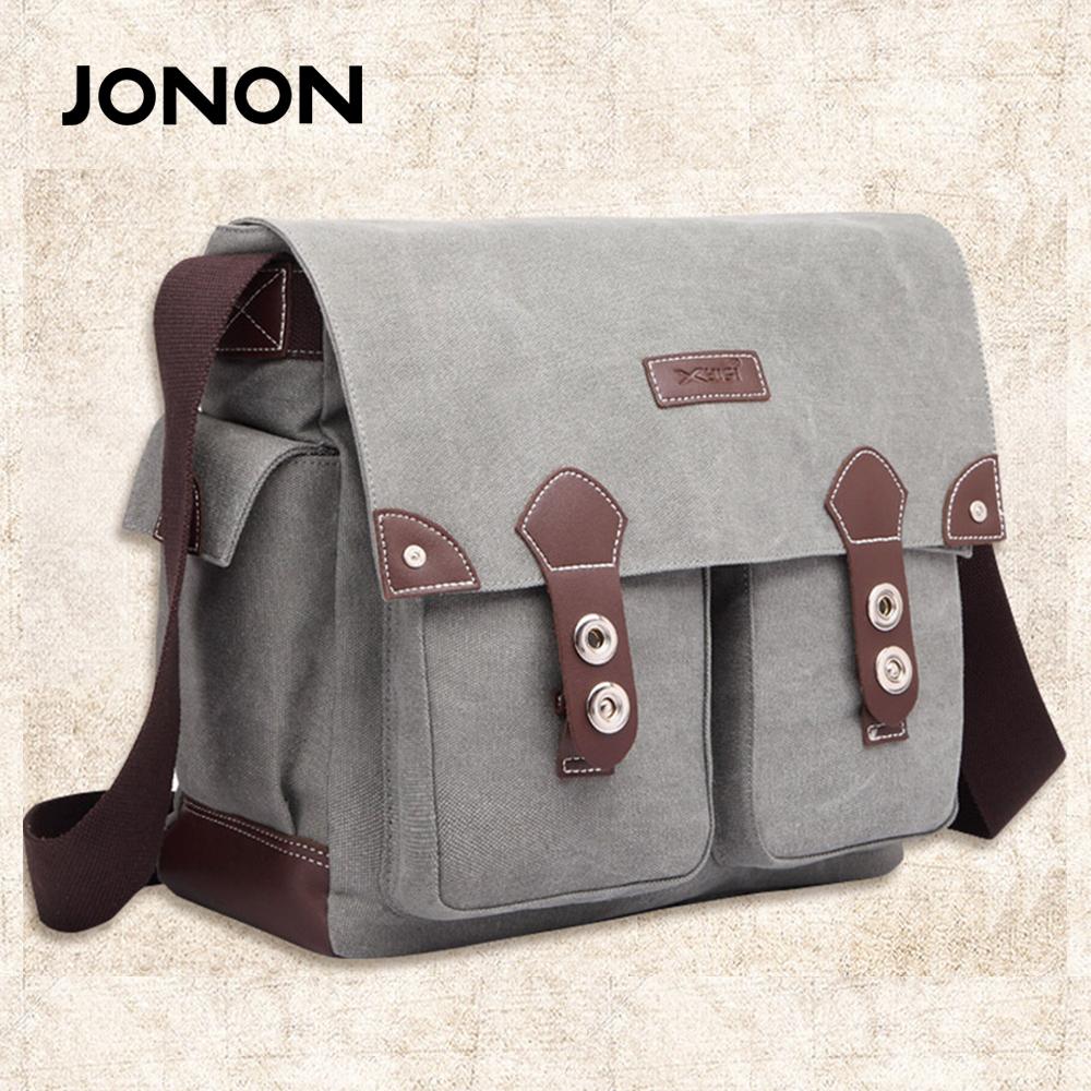 Фотография JONON Vintage Men Messenger Bag High Quality Crossbody Bag Military Canvas Shoulder Bag Fashion Scholl Bag Tote Briefcase JJ0014