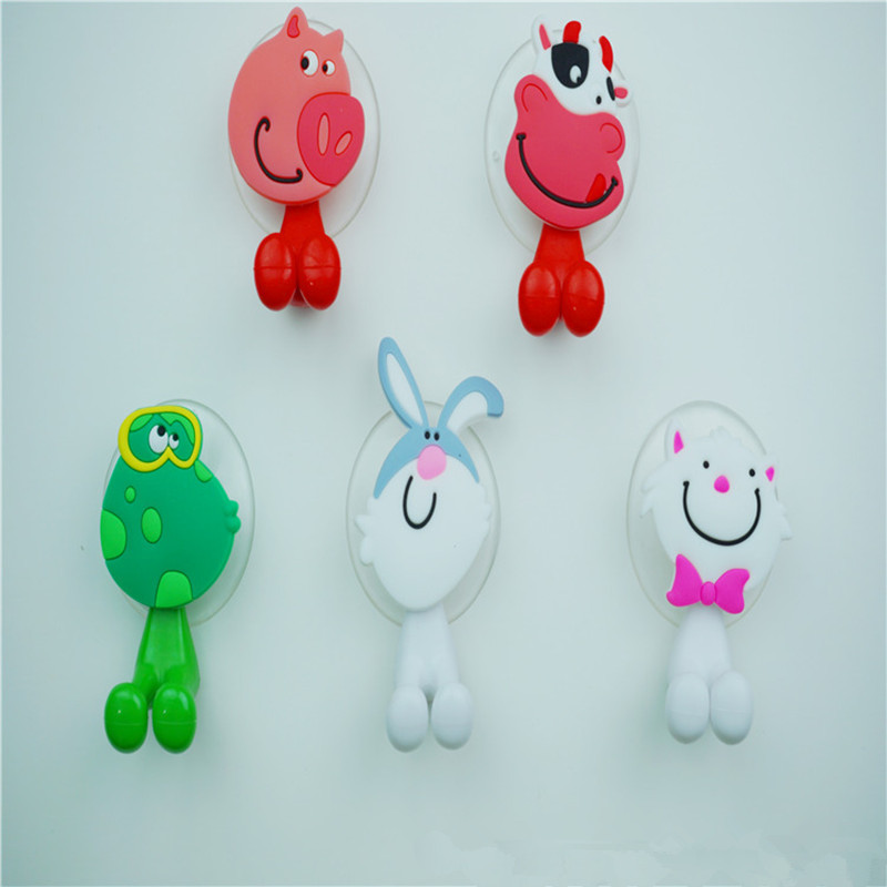 2015 New Cute High Quality Cartoon Sucker Toothbrush Holder Suction Lovely Animal Type Bathroom Accessories Eco-Friendly(C