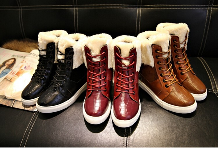 New Arrival Brand Winter Thick Red Boots Fashion Snow Boots For Women Fur Shoes Ankle Boots Girls Platform Shoes Women Flats