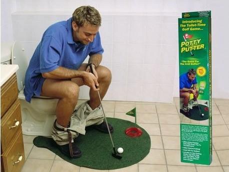 Hot Fashion Potty Putter Toilet Golf Game Mini Golf Set Toilet Golf Putting Green 1 set(China (Mainland))
