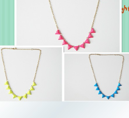 # NS067 Fashion accessories punk trigonometric neon color necklace 2013 jewelry TDD-5.99 40D(China (Mainland))