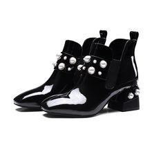 Moda Kalın Topuklu Patent Deri Sahte İnci Chelsea Çizmeler Kadınlar için Büyük Boy 43 yarım çizmeler Ayakkabı Kadın Glitter Çizmeler 2018(China)