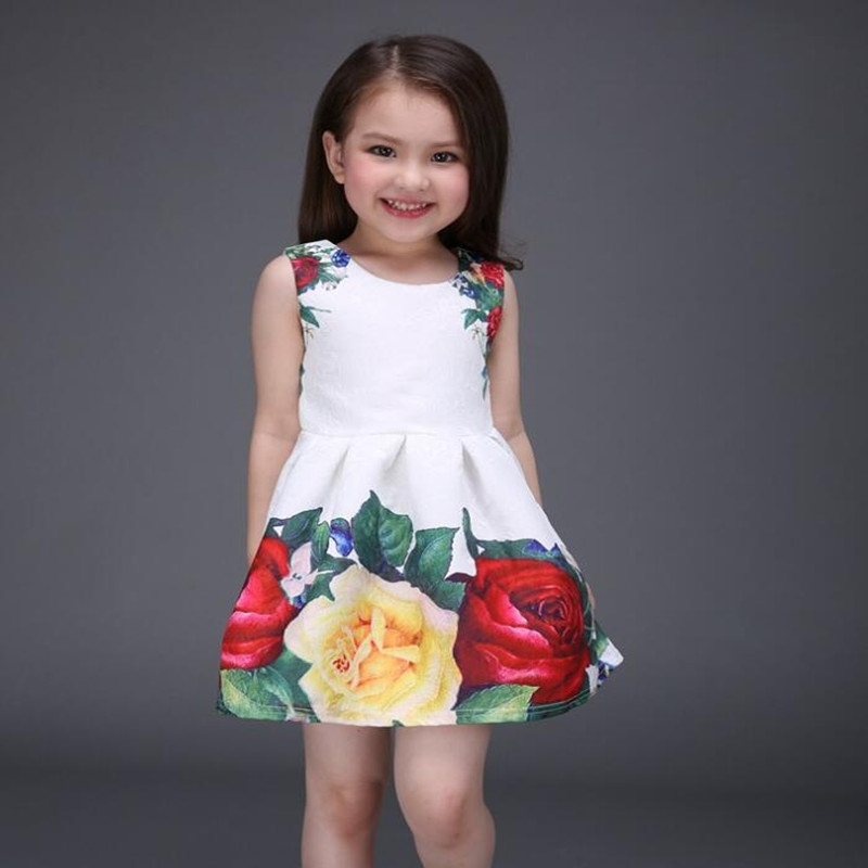 2016 Wholesale Summer New Arrive Girls Dress Children's Clothing Baby Girls Clothes Lady Princess Flowers Dresses Retail()
