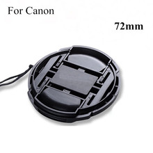 72mm Black Plastic Center Pinch Snap-on Cap Cover + LOGO +Anti-lost Rope for Canon 72 mm Lens