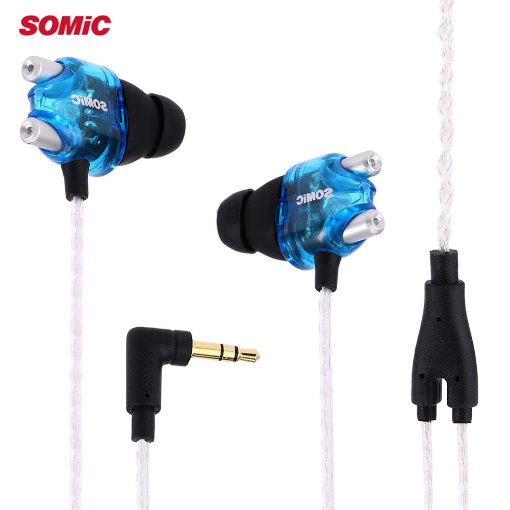HOT SALE Somic V4 Stereo Earphones Double Moving-coil HiFi Headphones Unique Design Lightweight Noise Cancelling(China (Mainland))
