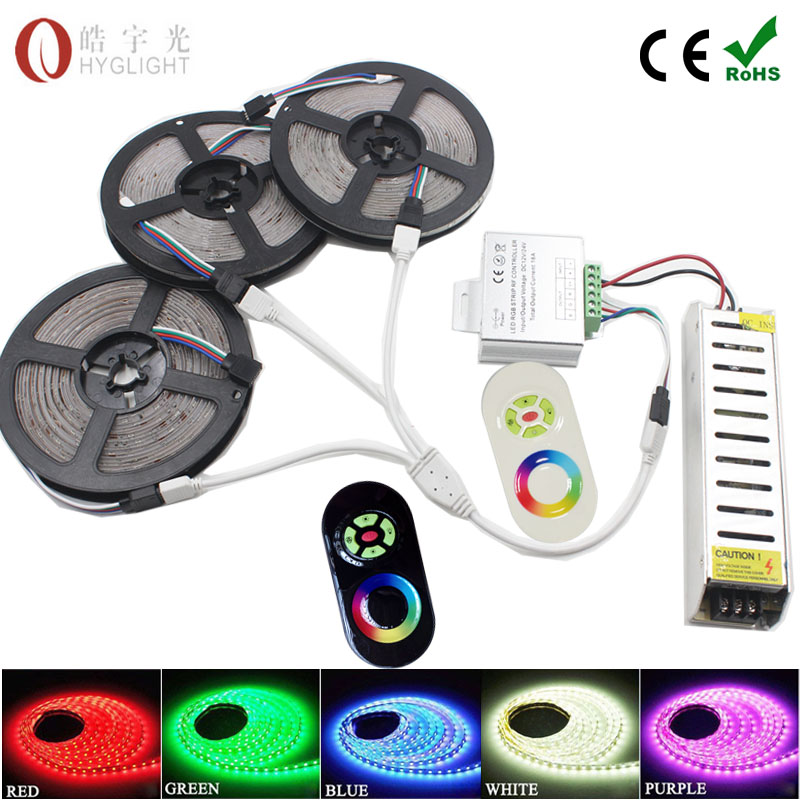 20M 15M 10M 5050 Fita RGB strip light Waterproof SMD 5050 Flexible christmas Led Strip tape lighting +RF Touch Remote Controller(China (Mainland))
