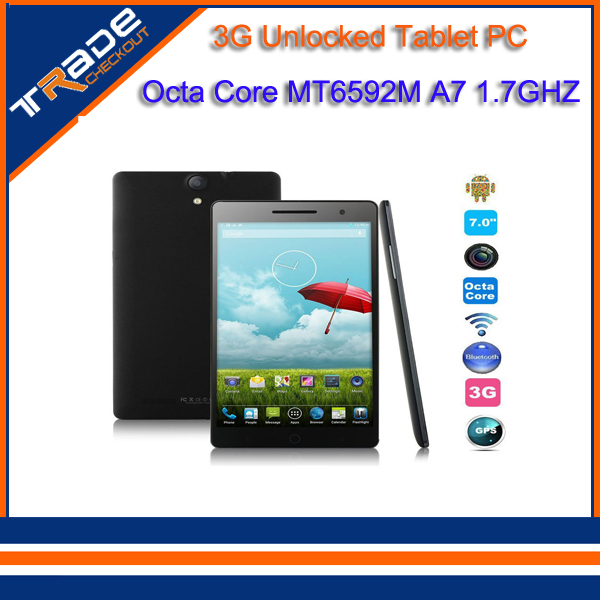 7 inch 3G Tablet PC Octa Core MT6592m 1.7Ghz Large 1920 x 1200 Touch Screen Dual Camera Android 4.4 Bluetooth GPS+Case(China (Mainland))
