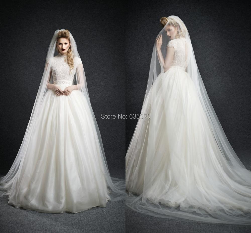 High end custom made beading wedding dresses high collar for High end wedding dress