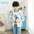 Colorful Little Kid Girls Printed Windbreaker Jacket Windproof Hooded Coat Waterproof Full Zipper Jacket with Two