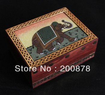 TJB906  Indian handmade wood jewelry box,110*85*40mm,colorful sand painting Elephant case,Resale & Wholesale,Free ship