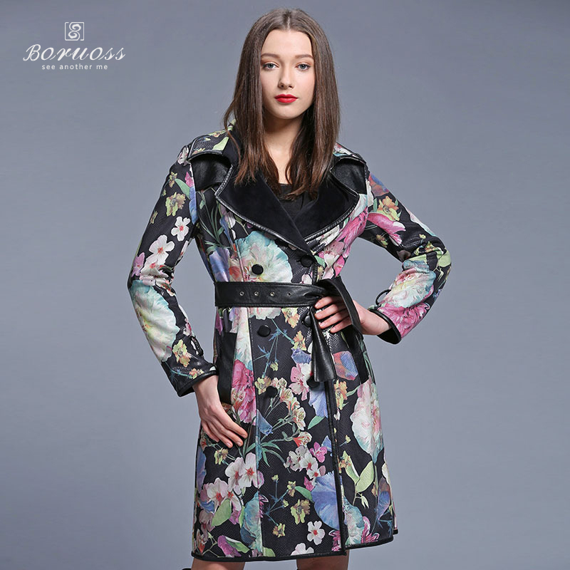 Boruoss 2015 Brand Trench Spring Coat Floralt Double Breasted Trench Femme Designer Flower Trench Coat Dresses For Women y3165