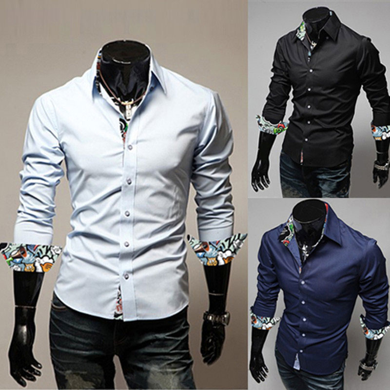 2016 Super Man Chemise Turn-down Collar Fashion Gay male Blouse Good quality Slim Mens shirtM-2XL(China (Mainland))