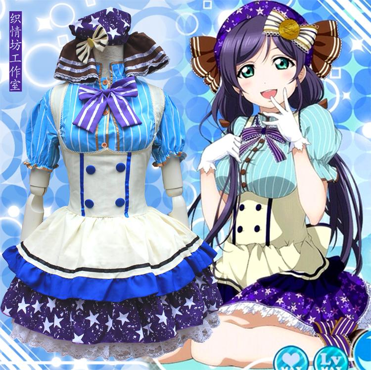 Love Live Tojo Nozomi Candy Cosplay Costume Lovelive Japanese Anime Lolita Maid Halloween Costumes Free Shipping(China (Mainland))