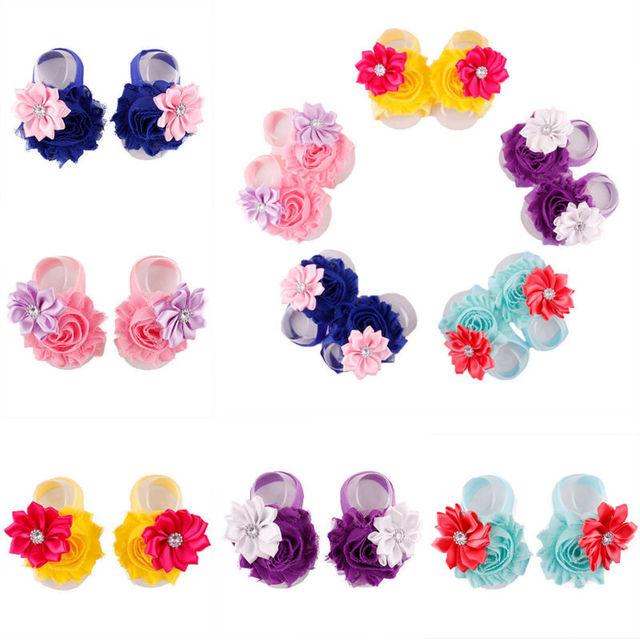 Потертый цветок детские босиком сандалии жемчужные босиком сандалии комплект детские ...