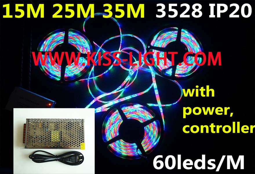 3528 RGB led strip light 15m25m35m led stripe 44keys SMD IR Remote Controller led stripe rgb warm cool white+ Power Supply KS001(China (Mainland))