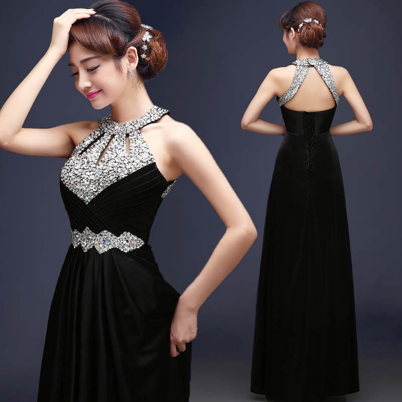Floor Length Satin Long Evening Dress Gown 2016 Long