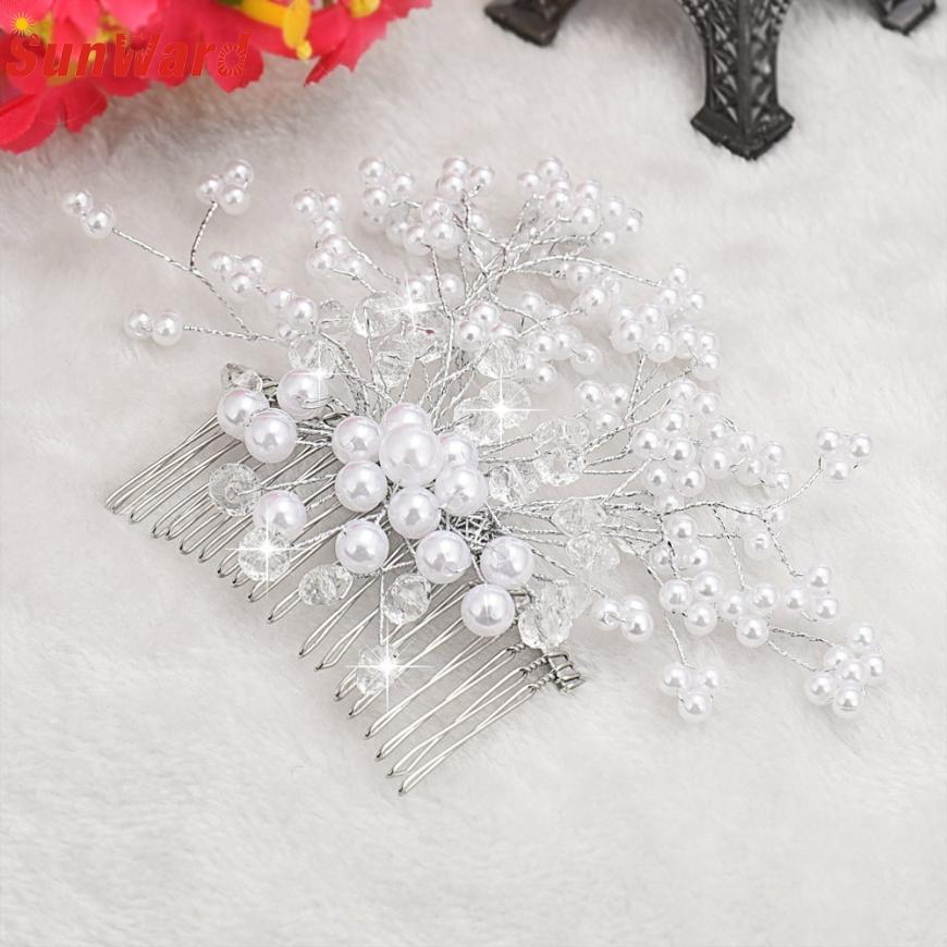 1PCS Wedding Bridal Hair Comb Clip Crystal Rhinestone Flower Faux Pearl Hairpin Hair Accessories