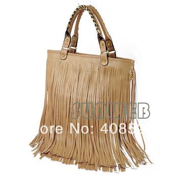 Women's Fashion Punk Fringe Tassel Handbag Shoulder Bag 2 Colors Black and Beige 3311