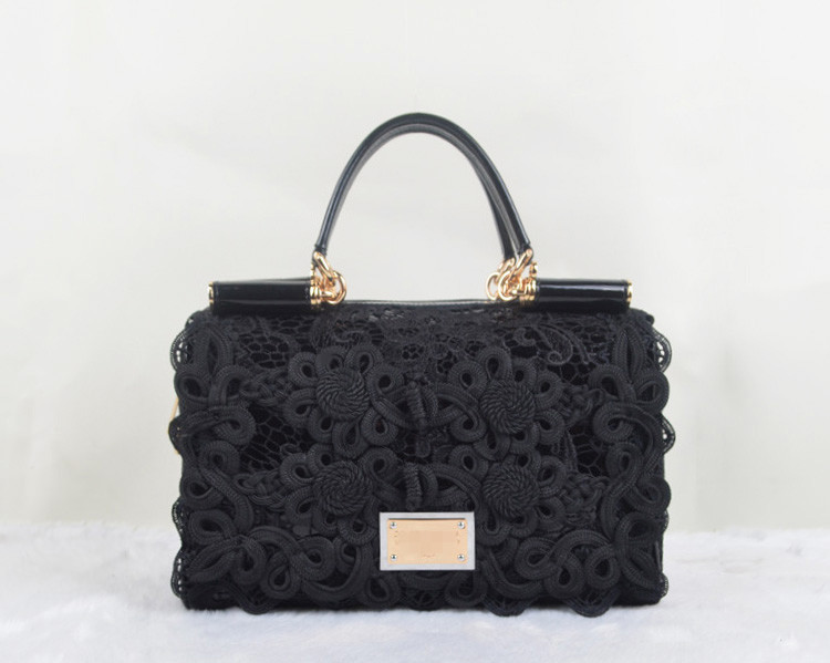 designer handbags 2015 famous brand vintage bag Chinese knot lace balck bag women japanned real leather black tote bag(China (Mainland))