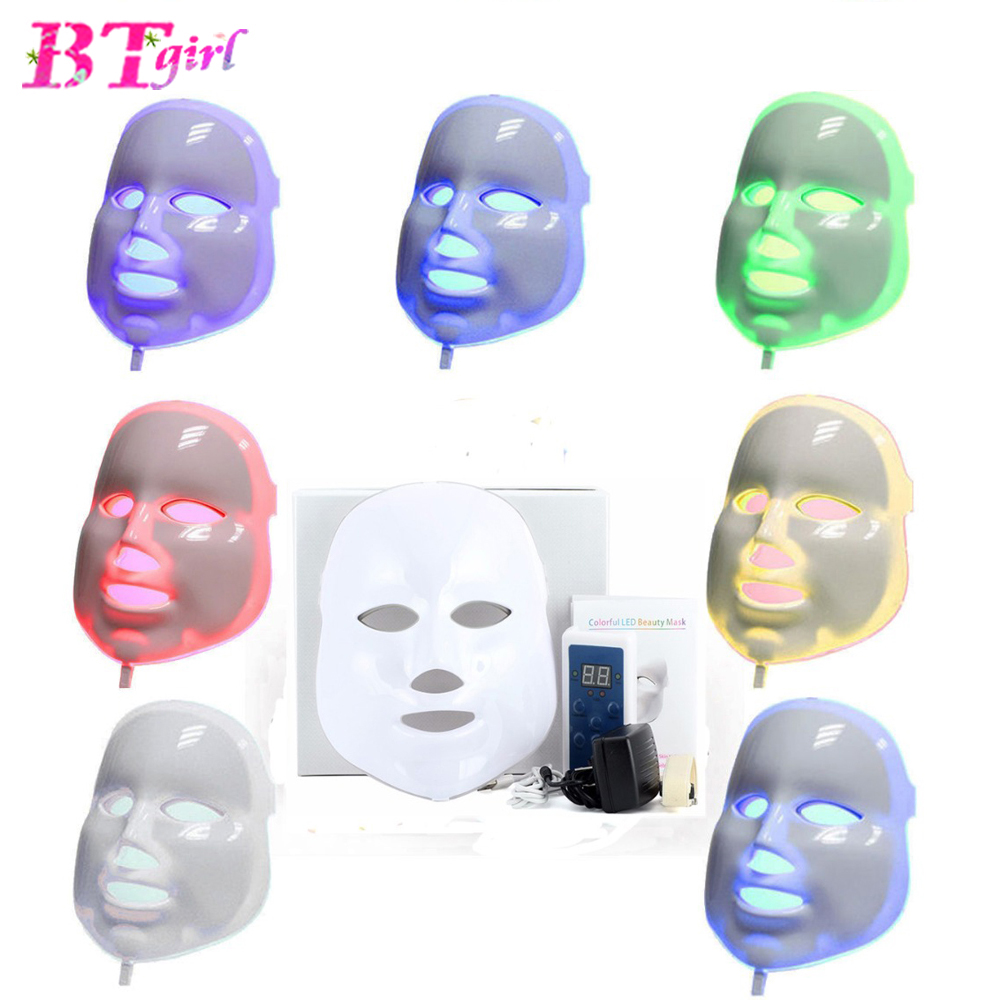 LED Facial Mask 3/7 Color LED Photon Facial Mask Wrinkle Acne Removal Face Skin Rejuvenation Facial Massage Beauty Face Mask