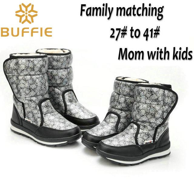 Водонепроницаемый зимой дети снегоступы бренда девушки парни зимняя обувь детей теплые меховые ботинки мама дочь семьи зимой подарок
