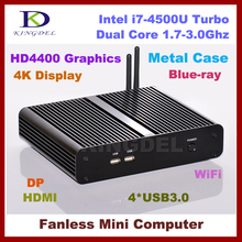 8G RAM+32G SSD+750G HDD,Fanless core i7 4500U embedded computer,Max 3.0Ghz,HTPC,4K DP,Intel HD4400 Graphics,300M WIFI Windows 7(China (Mainland))