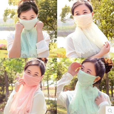 Summer Women oversized neck summer breathable outdoor anti-uv chiffon lace sun protection masks(China (Mainland))