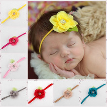 Children Girl's Head Accessories Baby Headband flower rose rhinestone headbands elastic flower hairband