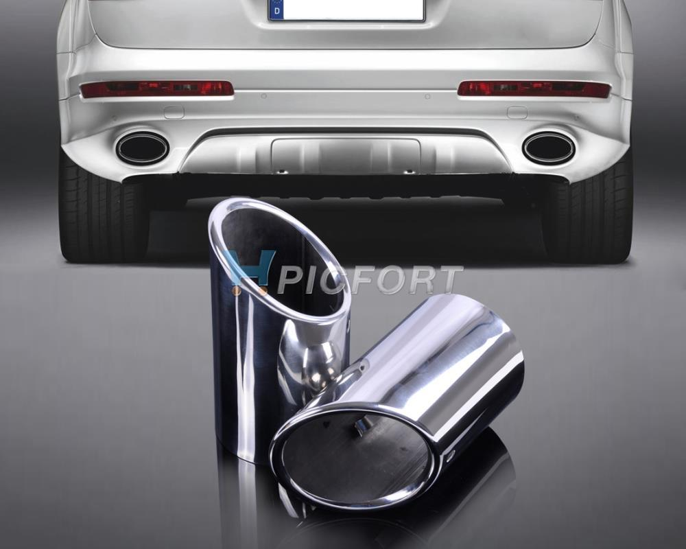 2X STAINLESS STEEL EXHAUST TAIL REAR MUFFLER TIP PIPE For AUDI Q7 3.0 2006 2007 2008 2009 2010 2011 2012 2013