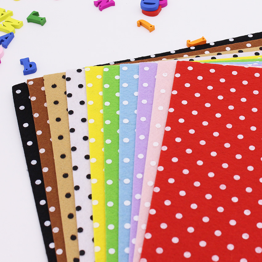 Multicolor polka dot printing felt fabric patchwork for Polka dot felt fabric