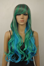 "Wholesale& heat resistant LY free shipping>>> women""s gray green blue mix long curly cosplay wig"