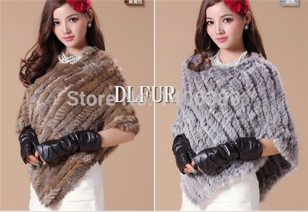 DL6051 Free Shipping Rabbit Fur Shawl For Women Natural Rabbit Fur Poncho Multicolour Choice Knitted Rabbit Fur Stole Shawl(China (Mainland))