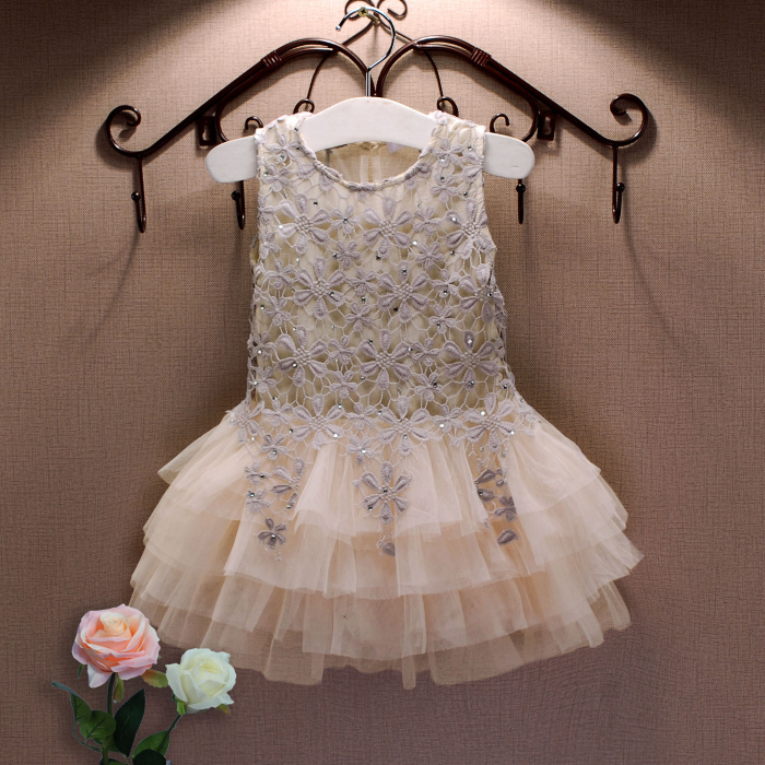 2016 Summer New Lace Vest Girl Dress Baby Girl Princess Dress 3-7 Age Chlidren Clothes Kids Party Costume Ball Gown Beige(China (Mainland))