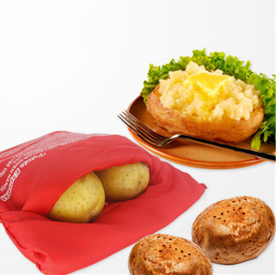 Red Washable Potato Bag For Microwave Oven Quick Fast (Cooks 4 Potatoes At Once) Steam Pocket In 4 Minutes Easy Cooking B058-2(China (Mainland))
