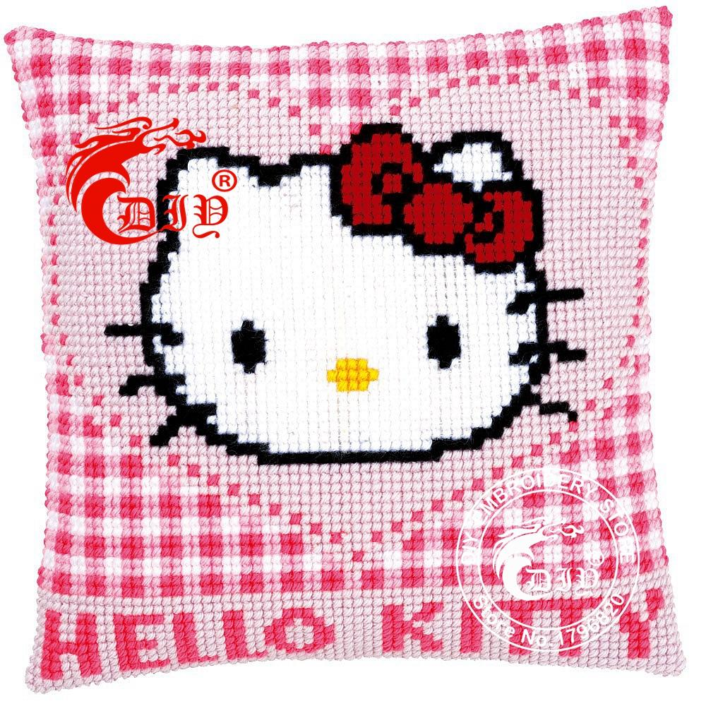 Chunky Cross Stitch Cushion Cover Pre-printed Canvas CAT WITH HERT Pillow Case Acrylic Yarn Kits for Embroidery Cushion Front