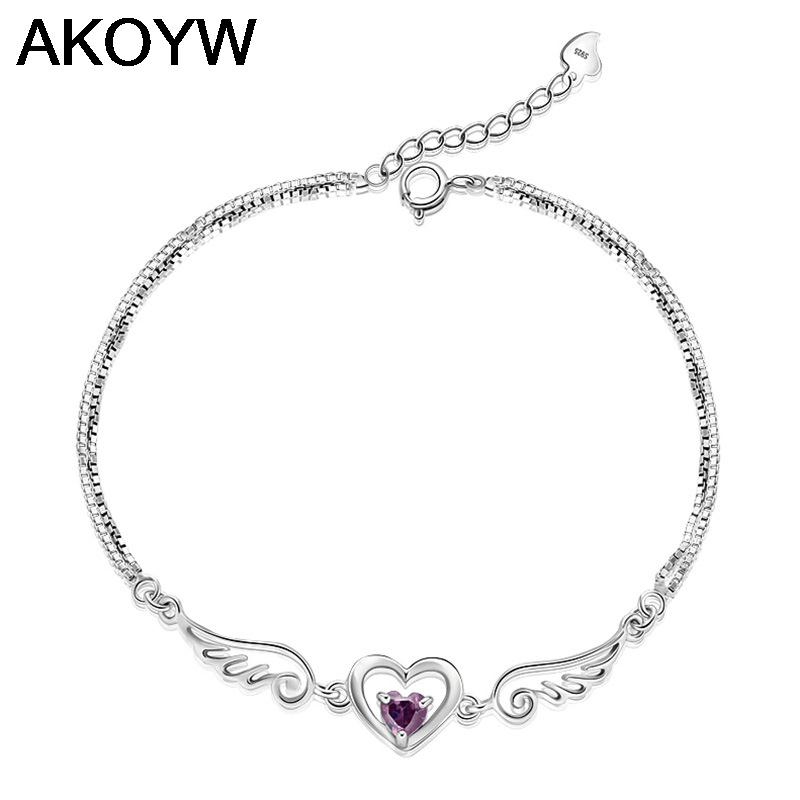 Silver plated bracelet angel lovers female models fashion cute vintage jewelry amethyst jewelry 17.5CM(China (Mainland))
