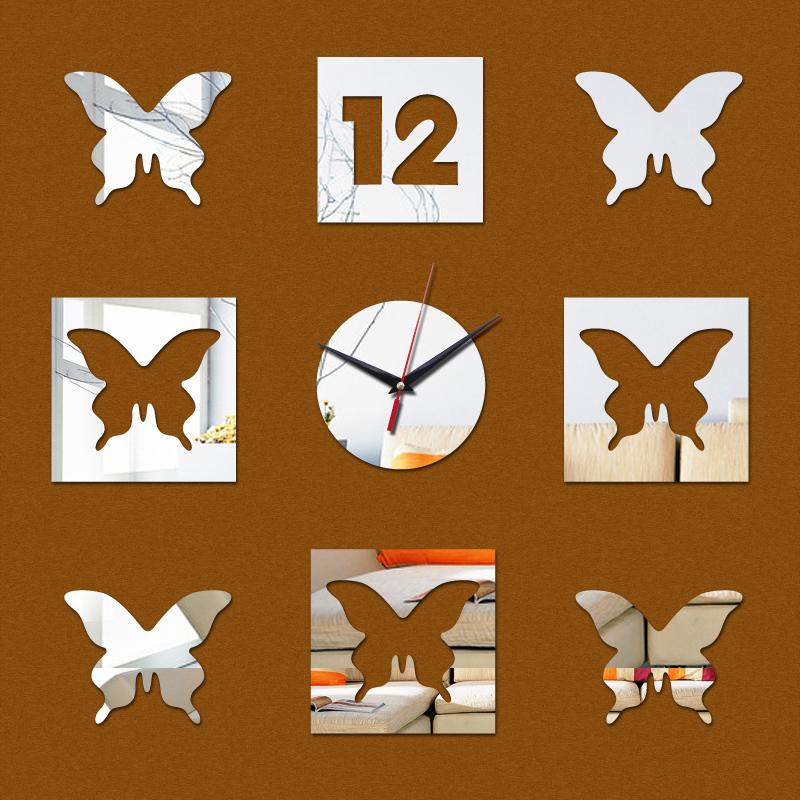 2015 por tempo limitado relógios de quartzo acrílico 3d relógio de parede espelho de fadas adesivo crianças decoração assista transporte agulha