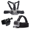 Gopro Accessories Set Helmet Harness Chest Belt Head Mount Strap Monopod For Go pro Hero 4 3+ 2 1 xiaomi yi sjcam sj4000