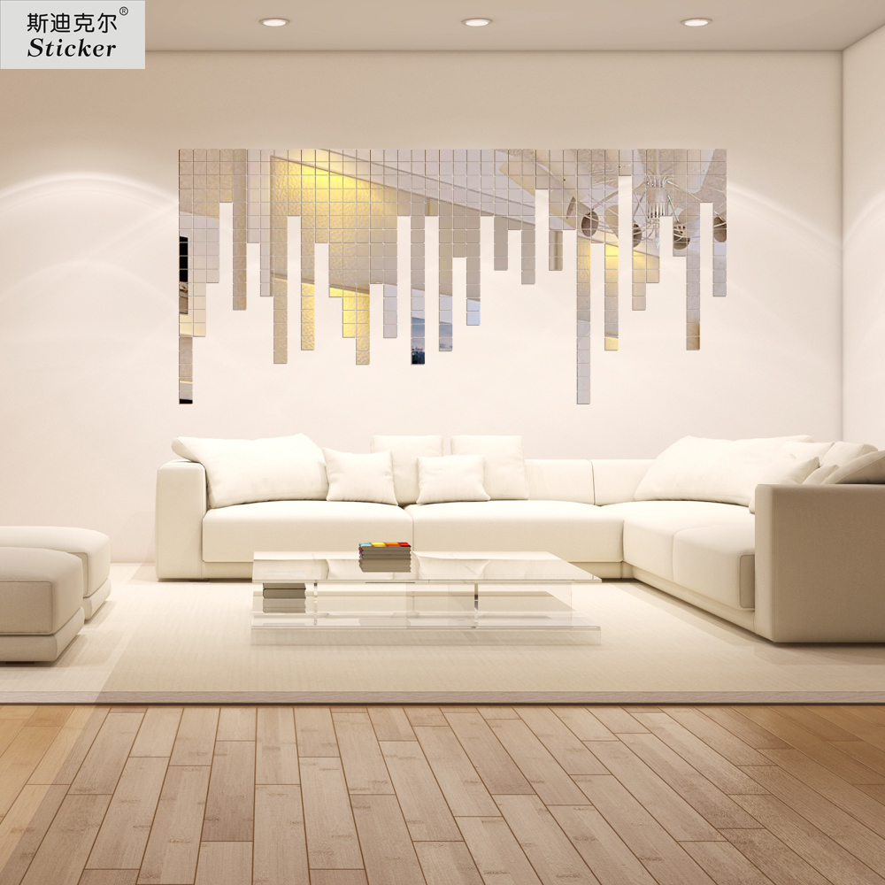 50pcs 5.5x5.5cm Acrylic 3D mirror Wall Sticker Home decor Mirror surface Effect modern design TV background Wall babay room(China (Mainland))