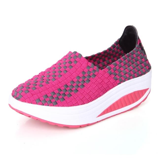 Высота Увеличение Дышащий Ручной Женщин Повседневная обувь Женская Мода Обувь для ...