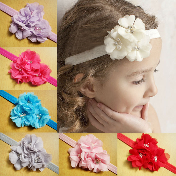 Детские атлас младенцы девочки hairband цветок повязка на голову малыша девочка в войлок цветок ободки A127